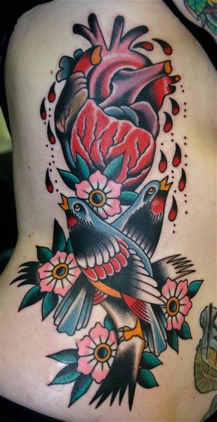 New School Flower Side Bird Tattoo by Rock of Age