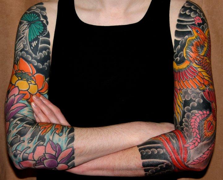 Japanese Phoenix Sleeve Tattoo by Rock of Age