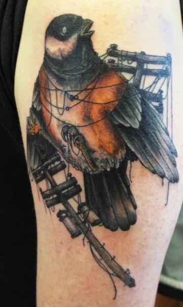 Arm Realistic Bird Tattoo by Three Kings Tattoo
