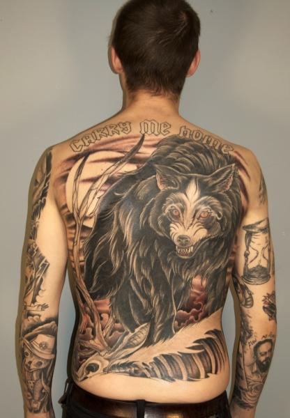 Back Wolf Tattoo by Three Kings Tattoo