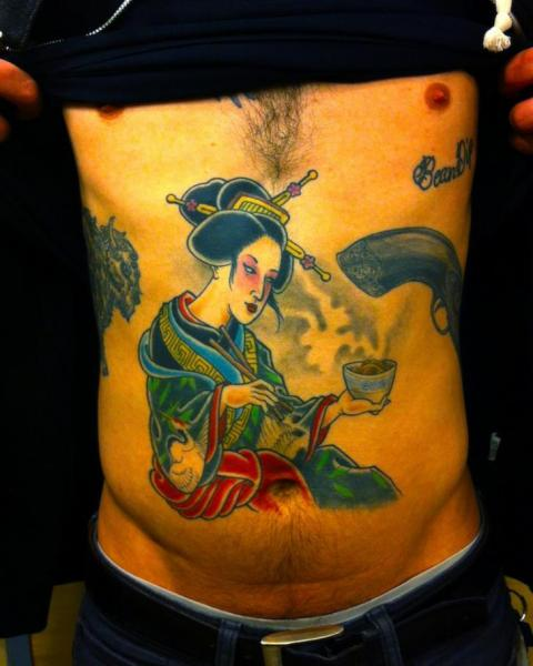 Japanese Belly Geisha Tattoo by Three Kings Tattoo