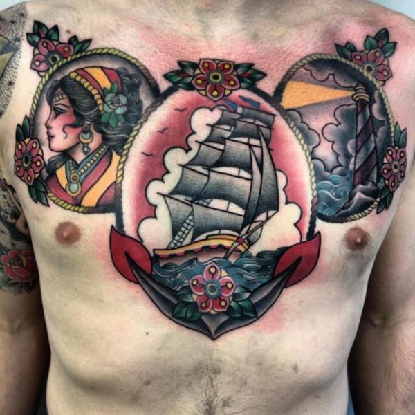 New School Leuchtturm Brust Anker Galeone Medallion Tattoo von Three Kings Tattoo