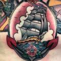 New School Lighthouse Chest Anchor Galleon Medallion tattoo by Three Kings Tattoo