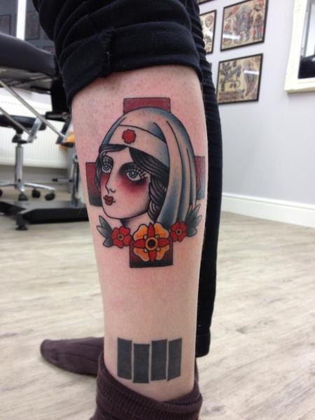 New School Leg Nurse Tattoo by Three Kings Tattoo
