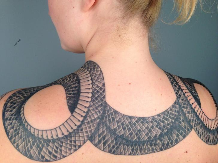 Shoulder Snake Neck Tattoo by Three Kings Tattoo