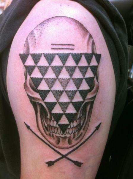Shoulder Skull Dotwork Abstract Tattoo by Three Kings Tattoo