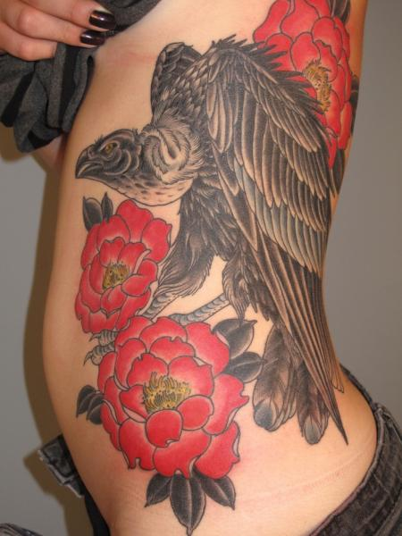 Flower Side Vulture Tattoo by Three Kings Tattoo