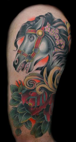 Horse Thigh Tattoo by Three Kings Tattoo