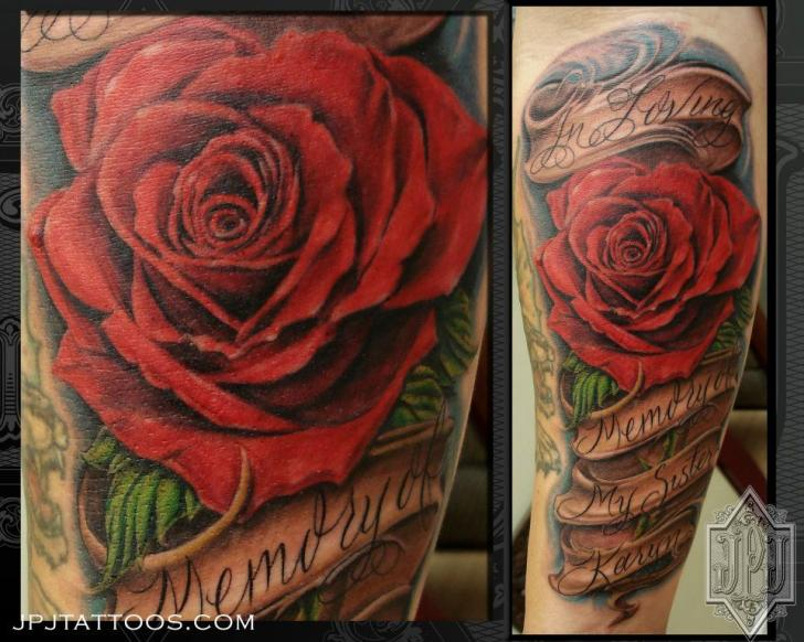 Arm Flower Lettering Tattoo by JPJ tattoos