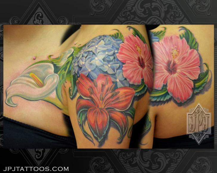 Shoulder Realistic Flower Tattoo by JPJ tattoos