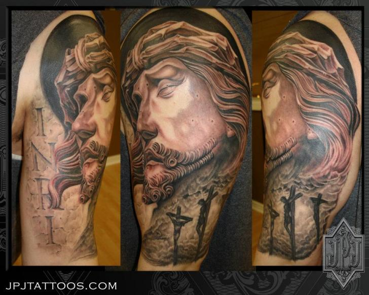 Shoulder Religious Tattoo by JPJ tattoos
