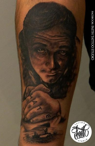 Arm Portrait Realistic Tattoo by Faith Tattoo Studio