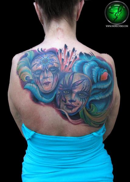 Back Mask Tattoo by Andre Cheko