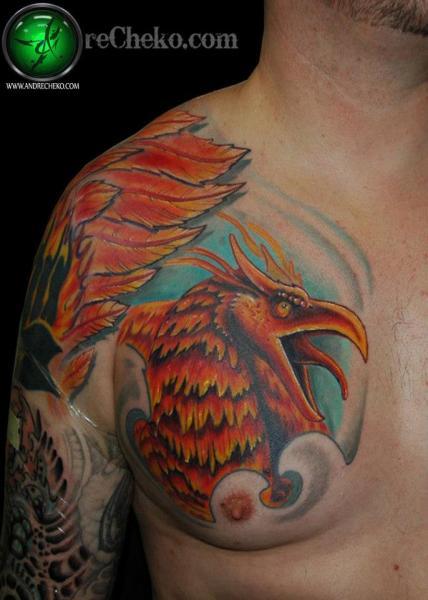 Fantasy Chest Phoenix Tattoo by Andre Cheko