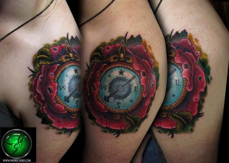 Shoulder Flower Compass Tattoo by Andre Cheko