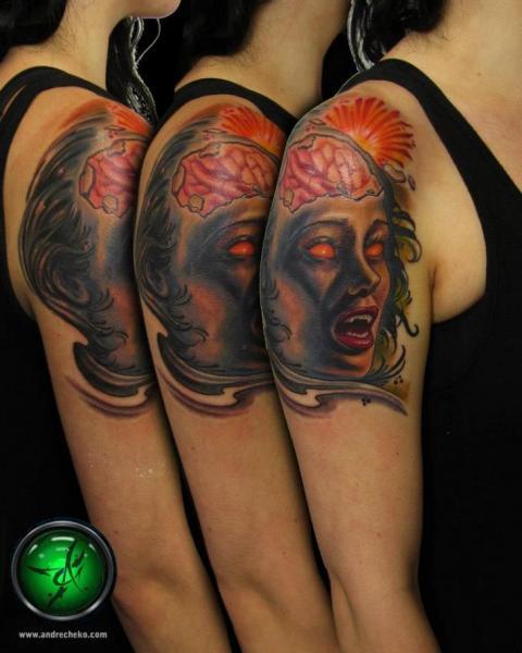 Shoulder Fantasy Tattoo by Andre Cheko