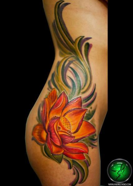 Flower Side Tattoo by Andre Cheko