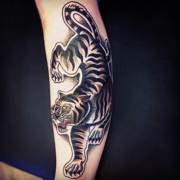 Arm Old School Tiger Tattoo von Matt Cooley