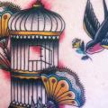 New School Back Bird Cage tattoo by Matt Cooley