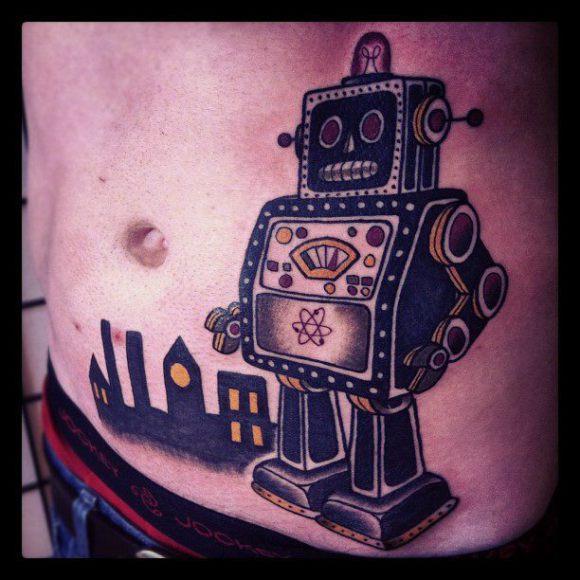 Tatuaje Fantasy Vientre Robot por Matt Cooley