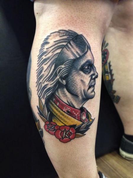 Waden Old School Indisch Tattoo von Matt Cooley