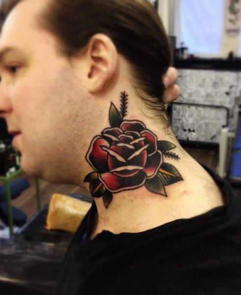 Old School Neck Rose Tattoo by Matt Cooley