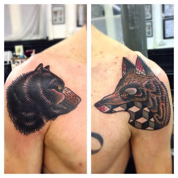 Shoulder Wolf Bear Tattoo by Matt Cooley