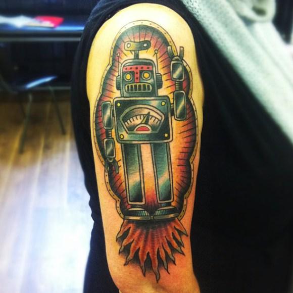 Shoulder Fantasy Robot Tattoo By Matt Cooley