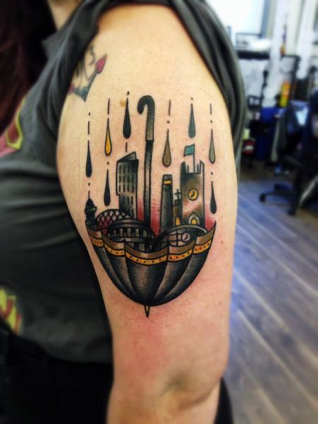 Shoulder Umbrella Tattoo by Matt Cooley