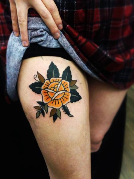 Old School Flower Thigh Tattoo by Matt Cooley