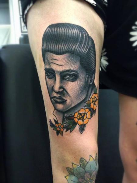 Old School Thigh Men Tattoo by Matt Cooley