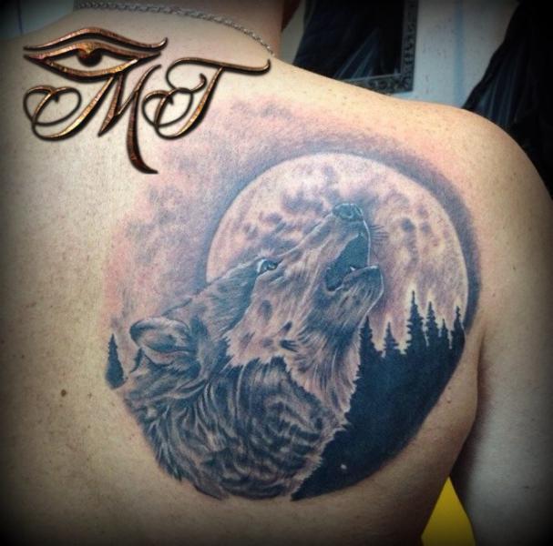 Back Wolf Moon Tattoo by Михалыч Тату