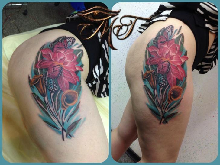 Realistic Flower Butterfly Thigh Tattoo by Михалыч Тату