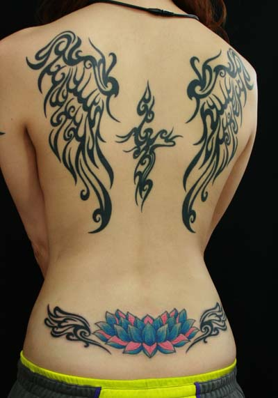 Back Tribal Wings Tattoo By Van Tattoo Studio