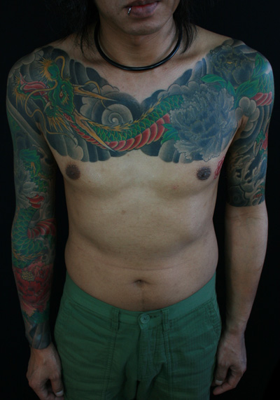 Shoulder Chest Japanese Dragon Sleeve Tattoo by Van Tattoo Studio