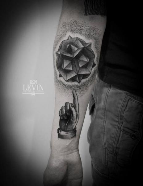 Arm Hand Dotwork Abstract Tattoo by Ien Levin