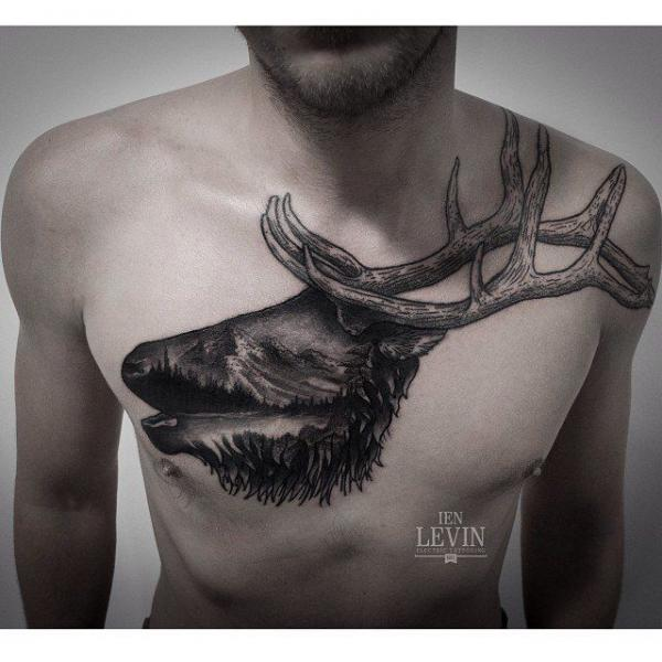 Chest Dotwork Deer Tattoo By Ien Levin