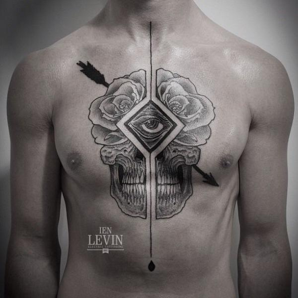 Chest Flower Skull Dotwork Tattoo by Ien Levin