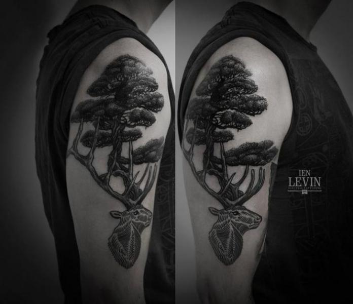 Shoulder Dotwork Tree Deer Tattoo by Ien Levin