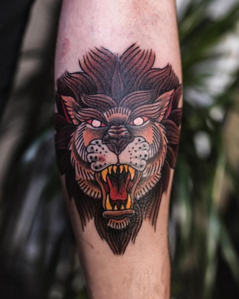 Arm Old School Lion Tattoo by Art Force Tattoo