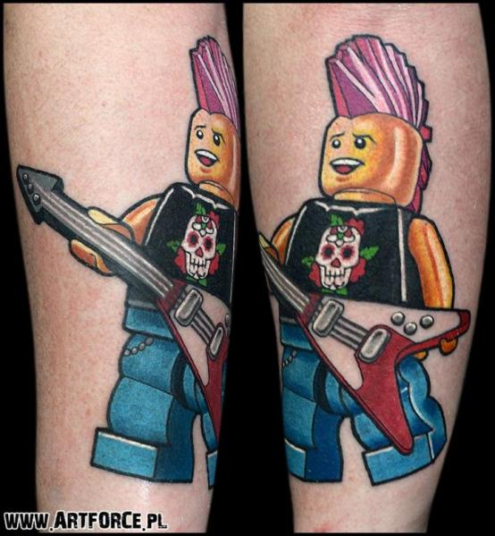 Calf Guitar Lego Tattoo by Art Force Tattoo