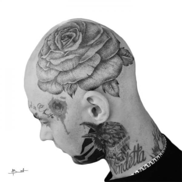 Flower Head Tattoo by Art Force Tattoo