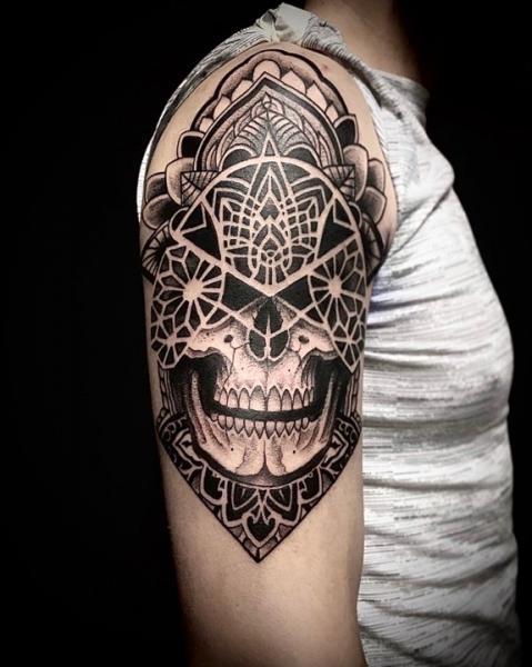 Shoulder Skull Tribal Tattoo by Art Force Tattoo
