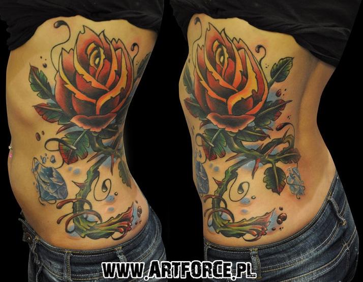 Old School Flower Side Tattoo by Art Force Tattoo