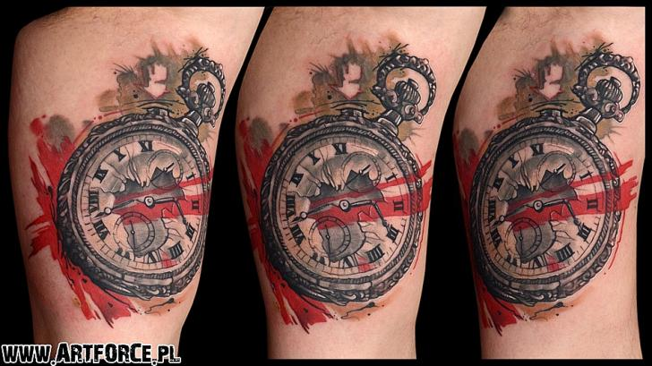 Clock Trash Polka Tattoo by Art Force Tattoo