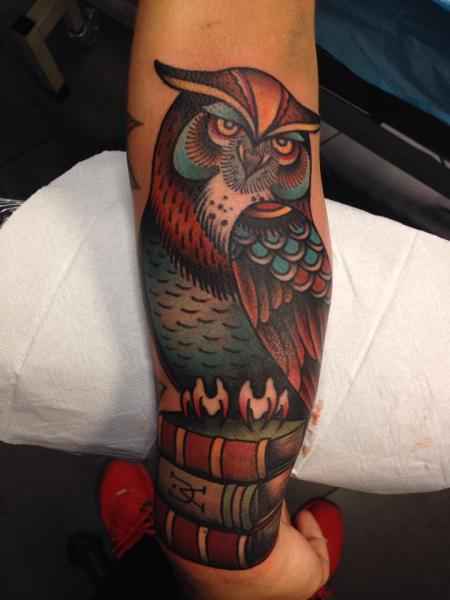 Arm New School Owl Tattoo by Filip Henningsson