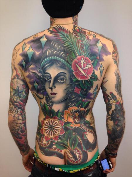New School Snake Flower Women Back Tattoo by Filip Henningsson