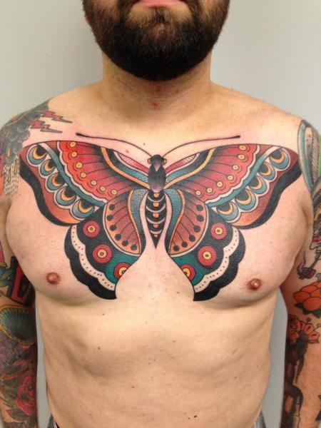 New School Chest Butterfly Tattoo by Filip Henningsson