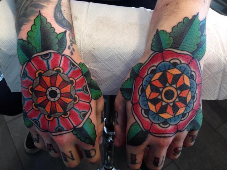 New School Flower Hand Tattoo by Filip Henningsson