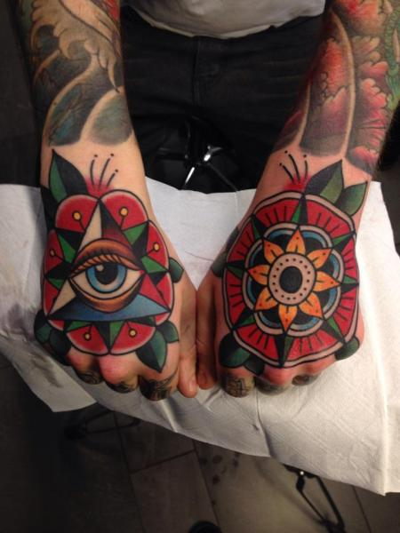 New School Hand Tattoo by Filip Henningsson